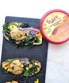 Roasted Eggplant 'Toast' with Roasted Red Pepper Hummus & Kale {Grain-Free, Gluten-Free, Dairy-Free, Vegan}