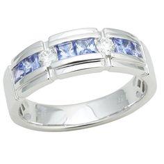 14K White Gold Tanzanite and Diamond Band 1.20 TCW (Size 10) - http://www.tanzanite.com/product-p/tzr26449.htm