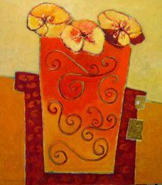 """Lita van Engelenhoven """"Bouquet in orange vase""""."""
