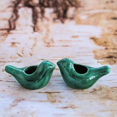 Two Ceramic Birdies candle holders emerald green / air plant planter Table Setting Spring Cottage Decor modern fresh home IN STOCK
