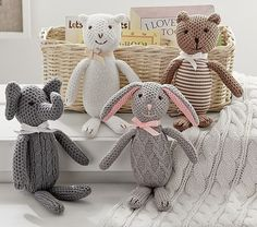 Huggable and loveable,these knit animals are sure to become favorites.