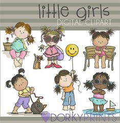 Cute Little Girls Digital Clip Art Set Personal and by DorkyPrints, $3.50