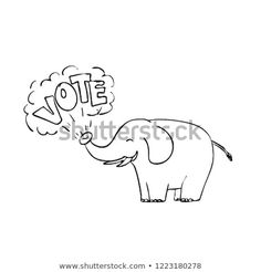 """Drawing sketch style illustration of a white elephant blowing the word """"Vote"""" from it's trunk on isolated white background in black and white. Drawing Sketches, Drawings, White Elephant, Royalty Free Stock Photos, Editorial, Illustrations, Black And White, Pictures, Fictional Characters"""