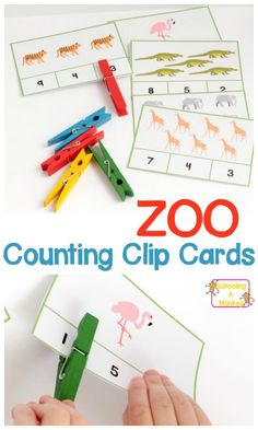 FREE Zoo counting clip cards for preschoolers and kindergartners. A great way to work on counting and number recognition during a zoo theme! #zoocountingcards #zoolearningactivities #educationalgamesforkids