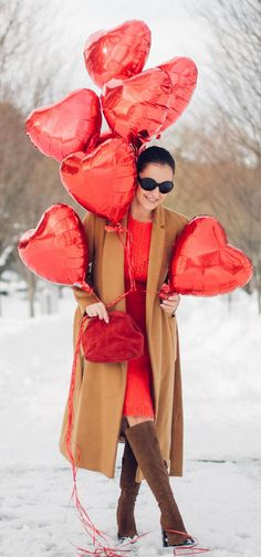 bitter sweet colours | St. Valentine's Day | camel coat | red dress