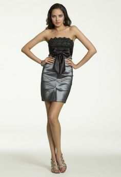 Short Strapless Taffeta Dress from Camille La Vie and Group USA #homecoming #homecomingdresses
