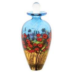 """Robert Held Art Glass - Perfume Bottle, California Poppy Copper Blue/ Lt Green - 2.25 X 5.5"""""""