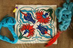Çini motifli yün keçe yastık