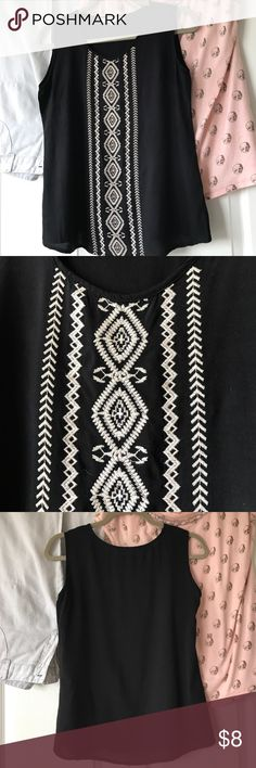 Black Cotton Tank Black with Aztec design embroidery business casual. Solitaire Tops Tank Tops
