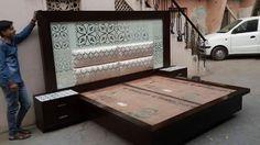 Bed Back Design, Wood Bed Design, Bedroom Bed Design, Bedroom Furniture Design, Modern Bedroom Design, Bedroom Decor, Hall Furniture, Furniture Upholstery, Home Decor Furniture