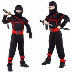 Disfraces clásicos de Halloween Cosplay Traje de Artes Marciales Uniformes Trajes de Ninja Para Los Niños Decoraciones Del Partido Suministros de Lujo