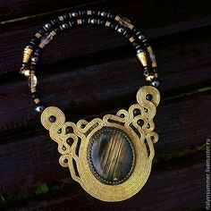 "Колье ""Рассвет"" Soutache Pendant, Soutache Necklace, Necklaces, Bracelets, Shibori, Brooches, Beading, Handmade Jewelry, Pendants"