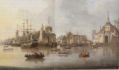 1823 Gezicht vanuit de Maas op de ingang van de Oude Haven, rechts de Ooster Oude Hoofdpoort, links de Wester Oude Hoofdpoort.