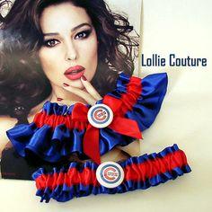 Cubs Garter Wedding garter set Chicago Cubs by lolliecouture, $50.00