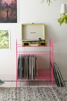 Record Storage Shelf - it's pink, I may have to have it
