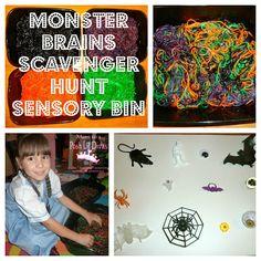 Mom to 2 Posh Lil Divas: Monster Brains Sensory Bin Scavenger Hunt