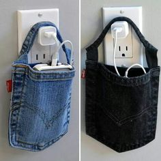 Turn an old pair of jeans into a smartphone charging pouch!