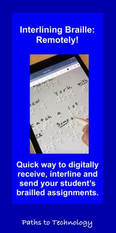 Find out how to interline braille remotely! These videos demonstrate a quick way to digitally receive, interline, and send your student's brailled assignments. Computer Lessons, Technology Lessons, Teaching Technology, Assistive Technology, Computer Lab, Best Notes App, Classroom Helpers, Preschool Special Education, School Closures