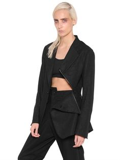 YOHJI YAMAMOTO - COTTON GABARDINE JACKET WITH ZIP DETAIL - LUISAVIAROMA - LUXURY SHOPPING WORLDWIDE SHIPPING - FLORENCE