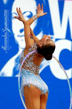Neviana Vladinova;  presently ranked number 1 in the Rhythmic Gymnastics world.  In fact there are quite a few Bulgarians making their mark at the moment.  Great photos btw, credits shown on the picture itself.  AMx
