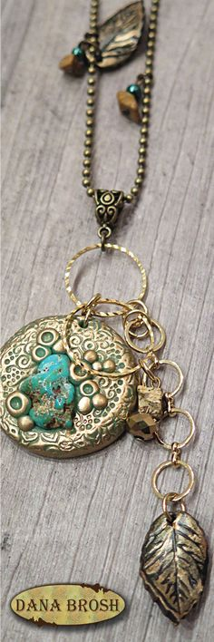 Beautiful turquoise necklace made of raw turquoise stone and turquoise polymer clay decorated with copper metallic powder and jasper beads. DANA BROSH special design, oriental style, boho chic Wonderful necklace, gift for her, girlfriend, mom, grand mom.  For casual and elegant outfit.