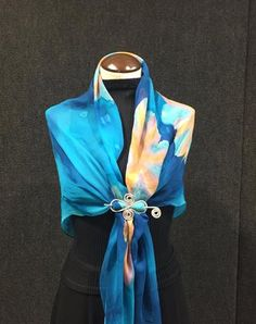 Blue Paradise - Hand Painted Silk Scarf / Wrap