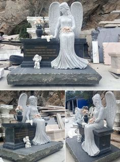 Marble Headstone/Monument-Marble Angel headstone, Granite Monument, tombstone,gravestone retailler and wholesale-You Fine Sculpture Headstones For Sale, Cheap Headstones, Cemetery Headstones, Cemetery Angels, Cemetery Statues, Angel Statues, Types Of Granite, Granite Stone, Marble Carving