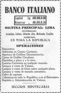 Publicidad del Banco Italiano (el antiguo nombre del BCP) 1923-06-23