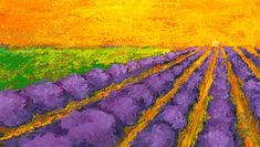Painting - Lavender Field A Modern Impressionistic Artwork In Palette Knife by Patricia Awapara , Colorful Paintings, Easy Paintings, Landscape Paintings, Original Paintings, Palette Knife Painting, Busse, Impressionist Art, Lavender Fields, Sunsets