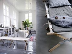 My current obsession is painted floors. They bring so much warmth than the regular finished wood floor. Love this! Army Cots via WTF | Remodelista
