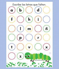 Actividad para escribir las letras que faltan del abecedario