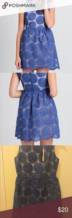 Brand New Organza Dress with Flower Embroidery New with tag. Short dress with blue flower embroidery all over. Scallop hem, super cute! Runs a little small. Make an offer! Ellison Apparel Dresses Mini