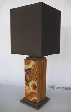 TDS - The Design Service - New Art Deco stepped painted table lamp light with Geometric abstract marquetry design
