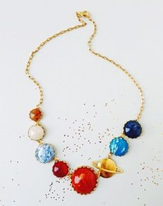 """The Eclectic Eccentricity """"Perfect Alignment"""" Solar System Necklace - as worn by Spoken Nerd's own Helen Arney on Channel 4 News!"""