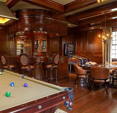 Billiard room and bar with Warmboard radiant | R.S. Granoff Architects, P.C.