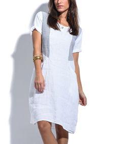 White Color Block Midi Dress