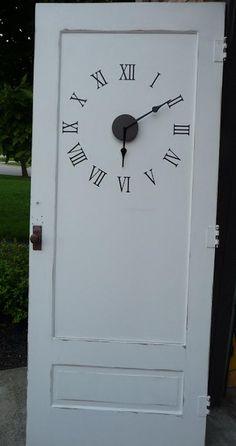 Old Door Clock - Creative Door Repurpose Ideas, http://hative.com/creative-door-repurpose-ideas/,