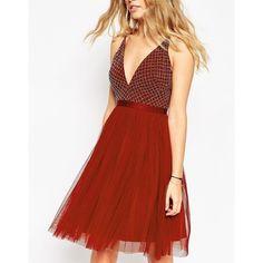 Needle & Thread Embellished Plunge V Neck Tulle Skirt Dress ($156) ❤ liked on Polyvore featuring dresses, red tulle dress, tulle cocktail dress, red v neck dress, tulle dress and reversible dress