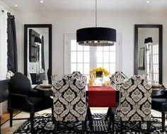 Candice Olson, Garbo Pendant Light with Black silk shade.  Love the damask chairs!