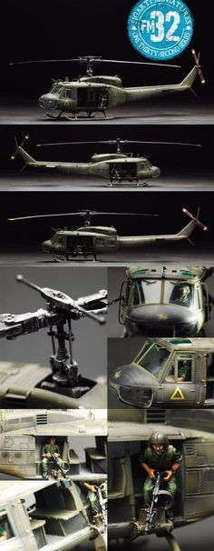 Vietnam War VTN-016 UH-1 Huey Helicopter Headhunters - Made by Figarti Military Miniatures and Models. Factory made, hand assembled, painted and boxed in a padded decorative box. Excellent gift for the enthusiast.
