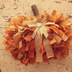 dollar tree crafts DIY Dollar Tree Rag Pumpkin Wreath - The Shabby Tree Dollar Tree Pumpkins, Dollar Tree Fall, Dollar Tree Crafts, Boutique Logo, Graphics Fairy, Fabric Pumpkins, Fall Pumpkins, Shabby Vintage, Shabby Chic Style