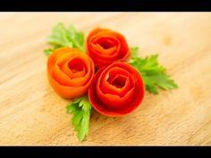 How To Make Tomato Rose Garnish - YouTube