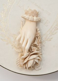 Victorian Carved Ivory Hand Brooch - Gorgeous!