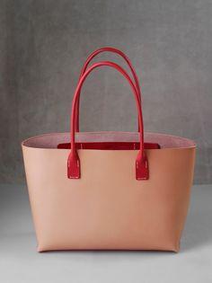 kumosha's hand stitched leather tote bag red and natural