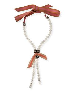 Pearly Ribbon Lariat Necklace by Lanvin at Bergdorf Goodman.