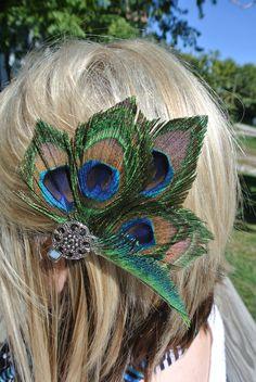 Vintage peacock feather hair clip by PaisleyandScarlett on Etsy