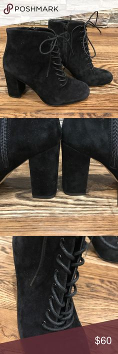 """Lace up suede boots NWT size 6 Brand new black suede lace up and zip up boots. High 3"""" heel. No box bottoms marked """"sample"""" Lord & Taylor Shoes Heeled Boots"""