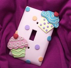 Items similar to Cupcake Light Switch Cover or Outlet Cover - Pink, Turquoise, Green - Cupcake Themed Room - Children's Cupcake Nursery Decor - Polymer Clay on Etsy Light Switch Plates, Light Switch Covers, Polymer Clay Crafts, Handmade Polymer Clay, Fimo Clay, Cupcake Nursery, Childrens Cupcakes, Outlet Covers, Pasta Flexible