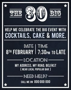 old Irish saying as 30th birthday party theme inspiration http