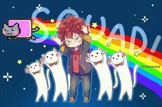 Squad!, text, funny, cute, neko, 707, Luciel, Saeyoung Choi, Longcat, Nyan Cat, crossover; Mystic Messenger
